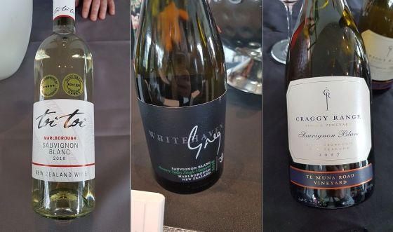 Toi Toi Marlborough Sauvignon Blanc, Whitehaven Greg Single Vineyard Sauvignon Blanc, and Craggy Range Sauvignon Blanc 2018 wines