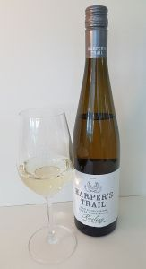 Harper's Trail Silver Mane Block Riesling 2018 with wine in glass