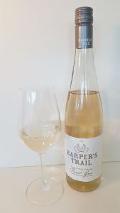Harper's Trail Pinot Gris 2018 with wine in glass