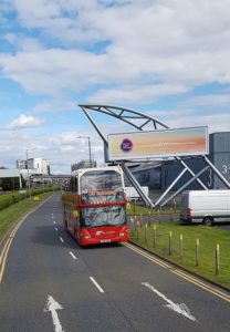 A hop-on-off bus in Glasgow