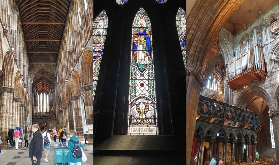 Inside the Glasgow Cathedral, a panel of stained glass, and the pipe organ