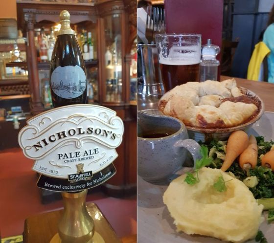 Nicholson's pale ale tap and my duck confit pot pie with a pint