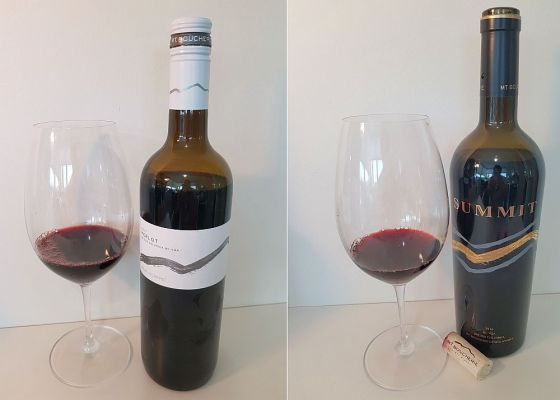 Mt. Boucherie Merlot 2017 and SUMMIT 2016 with wine in glass