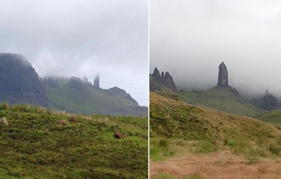 Two views of the Old Man of Storr rock pinnacle