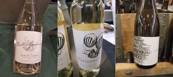 Baillie-Grohman Estate Winery Pinot Gris 2018, Bonamici Cellars Pinot Grigio 2018, and Ex Nihilo Vineyards Riesling 2016
