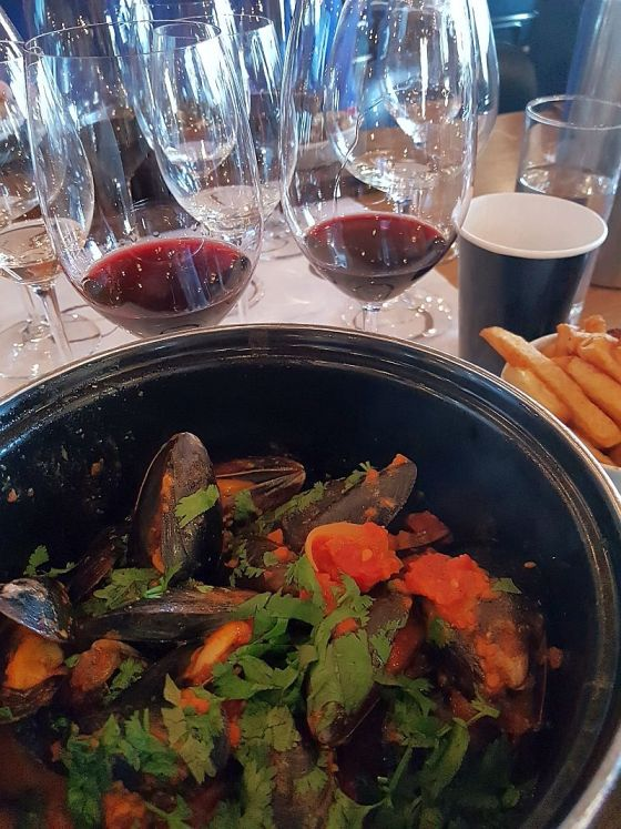 Chambar Moules Frites Congolaise with Black Hills wines