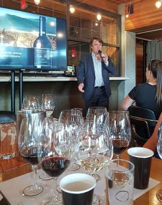 Glenn Fawcett telling us about the history of Black Hills Estate Winery