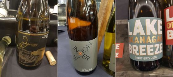 Indigenous World Winery Chardonnay 2017, Intersection Estate Winery Riesling 2016, and Lake Breeze Vineyards Pinot Gris 2018