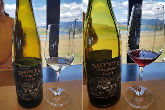 Monte Creek Ranch Riesling Rserve 2018 and Pinot Noir 2017