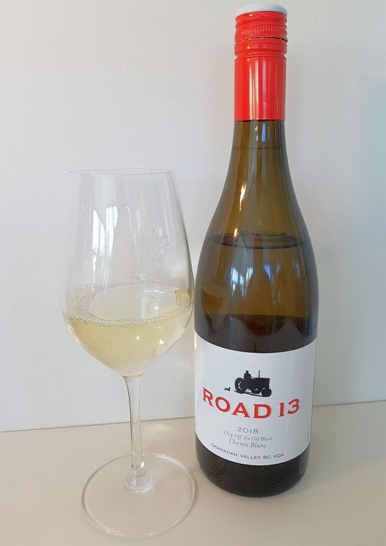 Road 13 Vineyards Chip Off the Old Block Chenin Blanc 2018 with wine in glass