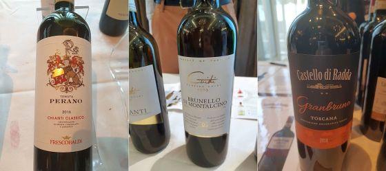 Frescobaldi Tenuta Perano Chianti Classico DOCG 2016, Guidi1929 Brunello di Montalcino DOCG 2014 and Agricole Gussalli Beretta Toscana IGT Granbruno 2018