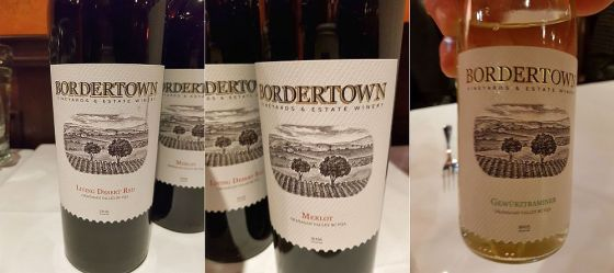 Bordertown Living Desert Red 2015, Merlot 2016, and Gewurztraminer 2015