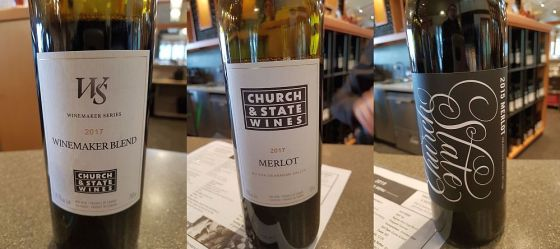 Church & State Wines Winemaker Blend 2017, Merlot 2017 and Merlot 2015 wines