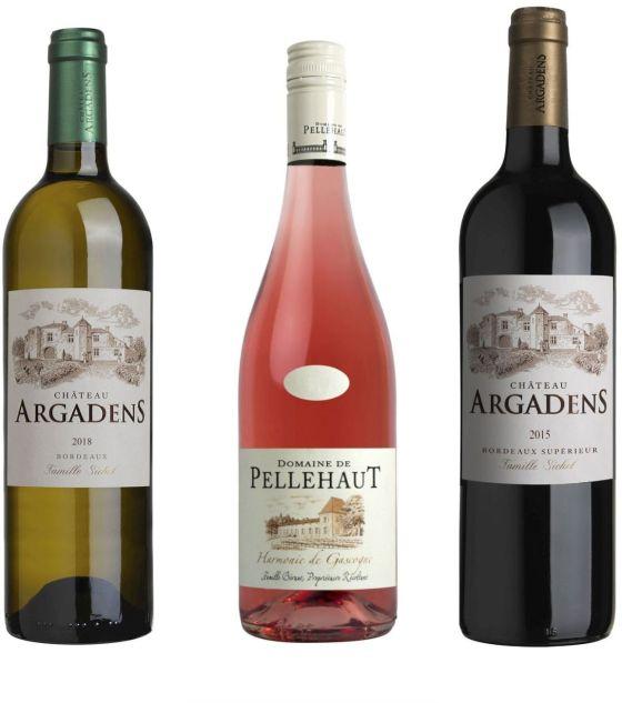 Maison Sichel Chateau Argadens Blanc 2018, Pellehaut Rose 2018, and Chateau Argadens Rouge 2016