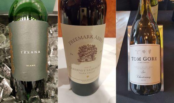 Hope Family Wines Treana Blanc 2015, Freemark Abbey Napa Valley Chardonnay 2016, and Tom Gore Vineyards Chardonnay 2016 wines