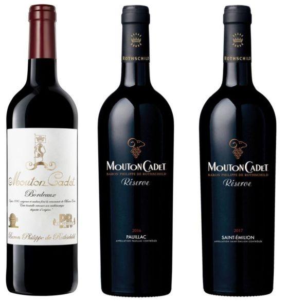 Mouton Cadet Vintage Edition 2017, Reserve Paullac 2016, and Reserve Saint Emilion 2017 wines