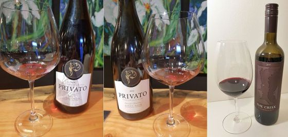 Privato Woodward Collection Tesoro Pinot Noir 2016, Privato Grande Reserve Pinot Noir 2014, and Tinhorn Creek Vineyards The Creek 2015 wines