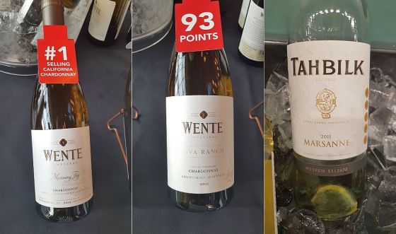 Wente Vineyards Morning Fog Chardonnay 2017, Wente Vineyards Riva Ranch Single Vineyard Monterey Chardonnay 2016, and Tahbilk Winery Museum Release Marsanne 2011 wines