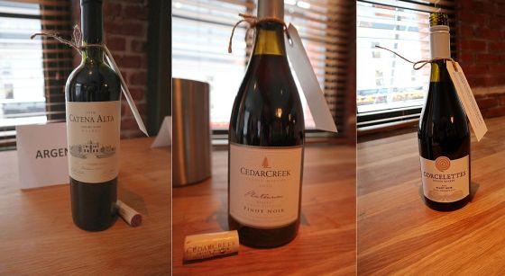 Bodega Catena Zapata Alta Malbec 2016, Argentina, CedarCreek Estate Winery Block 4 Pinot Noir 2016, BC, and Corcelletes Estate Winery Pinot Noir 2017, BC wines