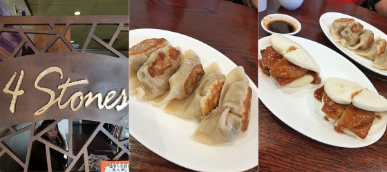 4 Stones Vegetarian cuisine with veg bbq cut buns and gyoza