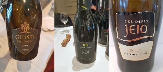 Giusti Wine Asolo Prosecco Superiore Brut DOC, Contadi Castaldi Franciacorta DOCG Brut NV, and Bisol Jeio Brut DOCG Valdobbiadene Prosecco