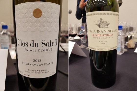 Clos du Soleil Winery Estate Reserve Red 2013 and Bodega Catena Zapata Adrianna Vineyard River Stones Malbec 2016 at The Global Cru seminar