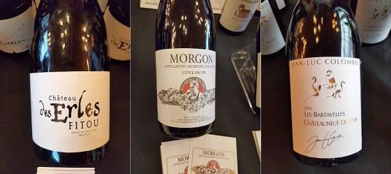 Francois Lurton Le Chateau des Erles 2017, Les Vines Georges Duboeuf Morgon Jean-Ernest Descombes Cote du Py 2018, and Jean-Luc Colombo Les Bartavelles Chateauneuf-du-Pape 2016 wines at VanWineFest 2020