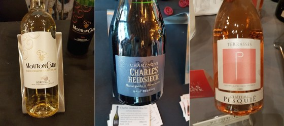 Mouton Cadet Blanc 2018, Charles Heidsieck Brut Reserve NV, and Chateau Pesquie Terrasses AOC Ventoux Rose 2018 wines at VanWineFest 2020