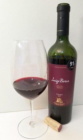 Bodega Luigi Bosca Malbec 2017 with wine in glass