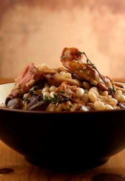 Duck Confit with Mixed Mushroom & Coco Bean Ragout (Duck Confit + Mixed Mushroom & Coco Bean Ragout. Photo credit Hamid Attie)