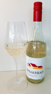 SpearHead Winery White Pinot Noir 2019 with wine in glass