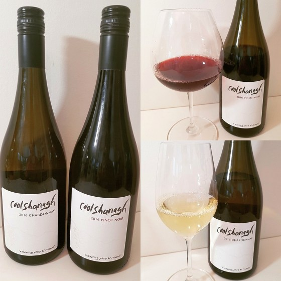 Coolshanagh Chardonnay 2016 and Pinot Noir 2016 with wine in glass
