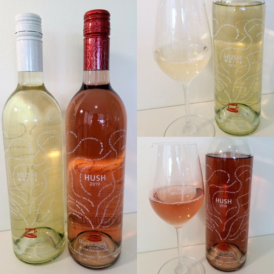 Dirty Laundry Hush White and Rosé 2019 with wine in glass
