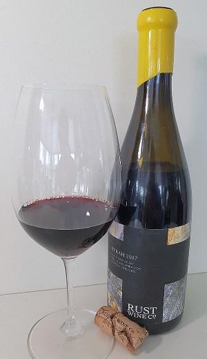 Rust Wine Co Syrah 2017, Okanagan Valley, Ferreira Vineyard with wine in glass