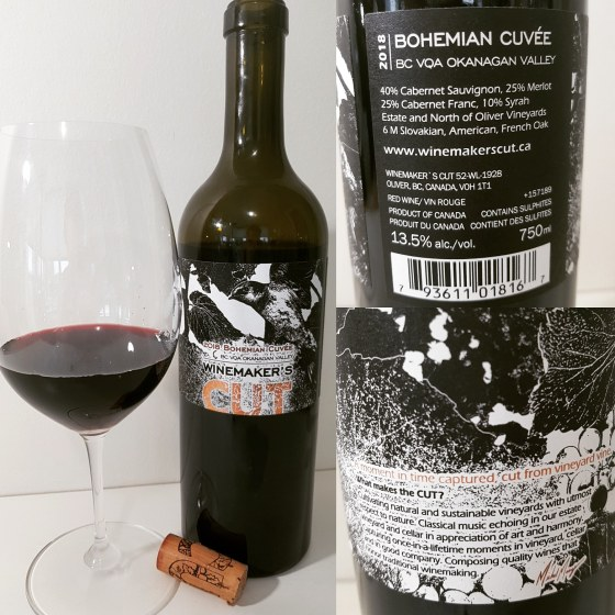 Winemaker's CUT Bohemian Cuvee Rouge 2018 with wine in glass