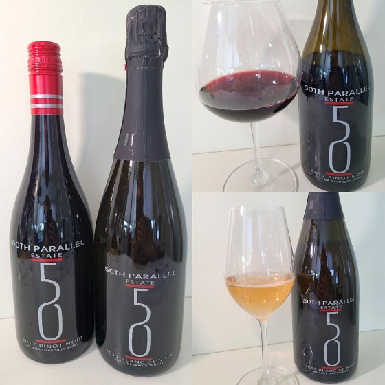 50th Parallel Estate WineryBlanc de Noir Methode Traditionnelle 2017 and Pinot Noir 2017 with wines in glasses