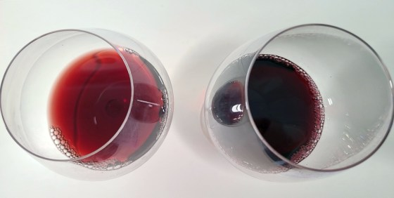 Garnet (Pinot Noir) on left vs ruby (Syrah) on right wine colours