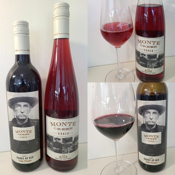 Monte Creek Ranch Rosé 2019 and Hands Up Red 2017 with wines in glasses