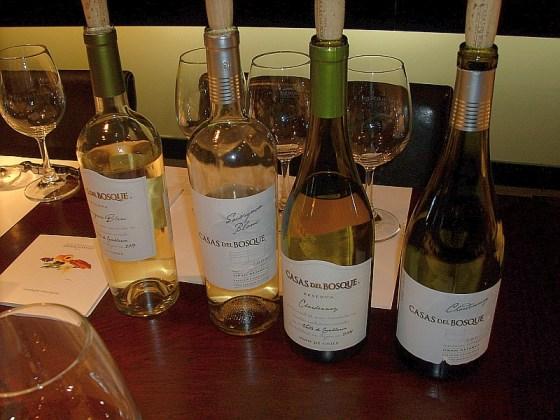 A flight of white Casas del Bosque wines to taste