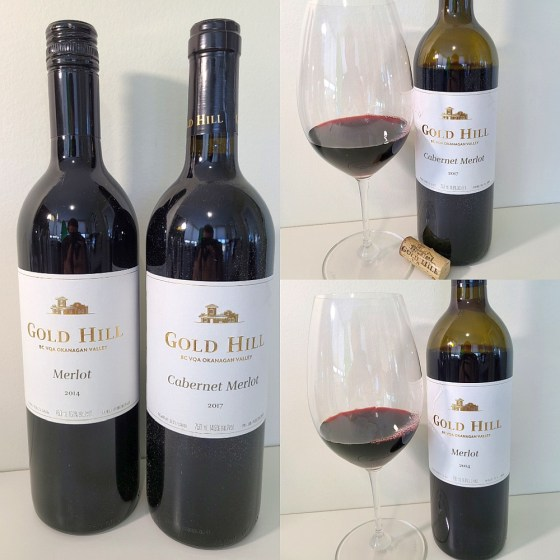 Gold Hill Merlot 2014 and Cabernet Merlot 2017 with wines in glasses