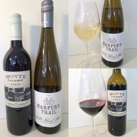 Harper's Trail Estate Winery Field Blend White 2019 and Monte Creek Ranch Cabernet Merlot 2017 with wines in glasses