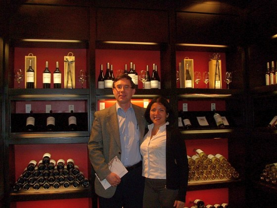 Me in the beautiful tasting room at Casas del Bosque with my winery guide