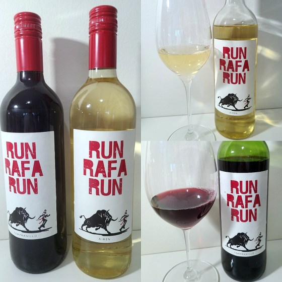 Run Rafa Run Airén and Tempranillo 2018 with wines in glasses