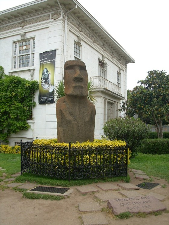 A stone Maoi from Easter Island at the Fonck Museum in Viña Del Mar