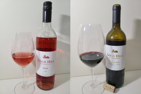 Gold Hill Rosé 2018 and Grand Vin 2014 with wines in glasses