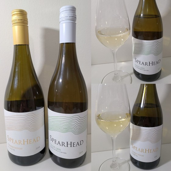 Spearhead Chardonnay Clone 95 2018 and Pinot Gris Golden Retreat Vineyard 2019 with wines in glasses