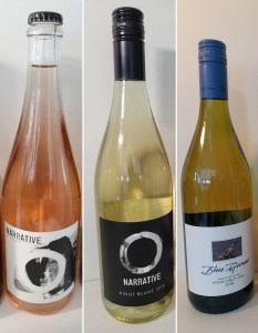 Narrative Sparkling XC Method, Narrative Pinot Blanc 2018, and Blue Grouse Estate Pinot Gris 2019