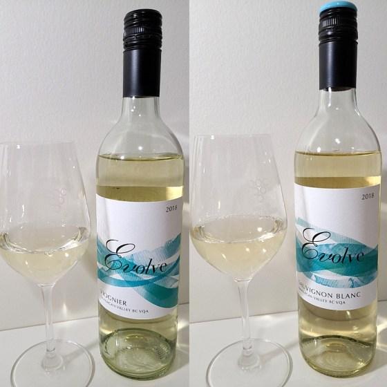 Evolve Cellars Viognier and Sauvignon Blanc 2018 with wine in glasses