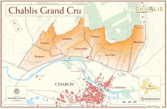 7 Climats of the Chablis Grand Cru (map courtesy Vins de Chablis)