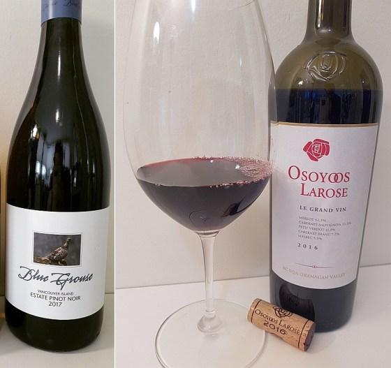 Blue Grouse Estate Pinot Noir 2017 and Osoyoos LaRose Le Grand Vin 2016 wines